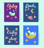 Template baby shower. Postcards with a sheep, moon, stars, pink clouds. Sample text. Decoration nursery. Party cards. Green sleepy lamb. Poster for wall decor stock illustration