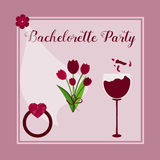Template for Bachelorette party invitation. With flowers, glass of wine, ring, bride veil Royalty Free Stock Photos