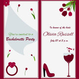 Template for Bachelorette party invitation. With flowers, glass of wine, ring, bride veil Royalty Free Stock Images