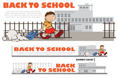 Template back to school - boy walk to school Stock Photo