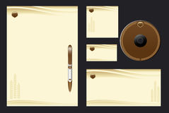 Template background. Brown template background with cones for bakehouse - blank, card, cd, note-paper, envelope, pen royalty free illustration