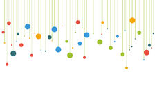 Template background with colorful dots hanged from top Stock Image