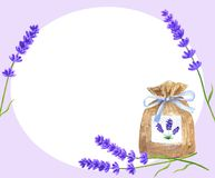 Template or background with lavender flowers and lavender sachet with blue ribbon. Hand drawn watercolor illustration royalty free illustration
