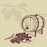 Template background for menu. With a barrel of wine and a bunch of grapes Royalty Free Stock Image