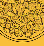 Template background with pizza doodle designs for posters, menus Stock Photography