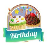 Badge of delicious cupcake with sweet topping Royalty Free Stock Photo