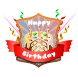 Badge of delicious sprinkles birthday tart. Template of badge of delicious sprinkles birthday tart Royalty Free Stock Photography
