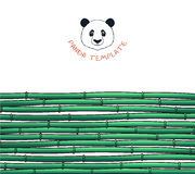Template with bamboo. Japanese background. Bamboo and panda Royalty Free Stock Image