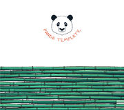 Template with bamboo. Japanese background. Bamboo and panda Royalty Free Stock Photography