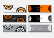 Template banner, business card, an invitation, a document with circular patterns. Mandala Stock Photos
