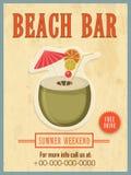 Template, banner or flyer design for beach bar. Stock Photos