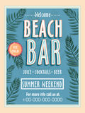 Template, banner or flyer design for beach bar. Royalty Free Stock Images