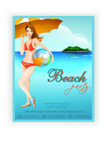 Template, banner or flyer design for beach party. Royalty Free Stock Image