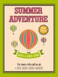Template, banner or flyer design for summer adventure. Stock Photo