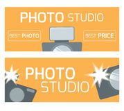 Template banner, flyer, gift certificate for a photo studio. Flat cameras. Design element for your creativity Royalty Free Stock Image