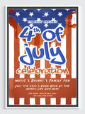 Template, Banner or Flyer for 4th of July. Royalty Free Stock Photo