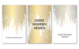 Template for banner, flyers, save the date, birthday or other invitation. Gold and silver rain on white background