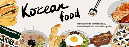 Template banner with a set of Korean dishes for websites or social network. Traditional Korean dishes bibimbap, hotteok, kimchi, vector illustration