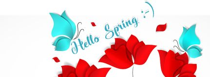 Template banner for social nerwork with place for image. Hello Spring floral 3d vector background with bright red stock illustration