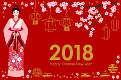 Happy Chinese New Year card. Beautiful Asian girl in festive dress, blooming sakura and oriental lanterns on red background. Template for banners, posters Royalty Free Stock Photos