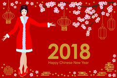 Happy Chinese New Year card. Beautiful Asian girl in festive dress, blooming sakura and oriental lanterns on red background. Template for banners, posters Royalty Free Stock Photography