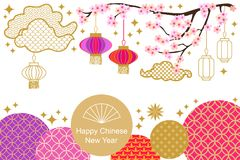 Happy Chinese New Year card. Colorful abstract ornate circles, clouds, blooming flowers and oriental lanterns. Template for banners, posters, party invitations Royalty Free Stock Photography