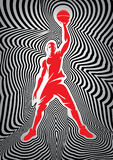 Template basketball poster with player on striped background Royalty Free Stock Photography