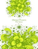 Template with Beautiful abstract flowers bouquet in  green yellow on white Stock Photo
