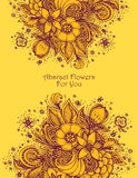 Template with Beautiful abstract flowers bouquet in  orange. Template with abstract flowers bouquet in orange colors autumn composition  for decoration  package Stock Photography