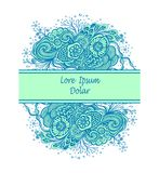 Template with Beautiful abstract marine flowers bouquet in blue cyan on white Stock Photo