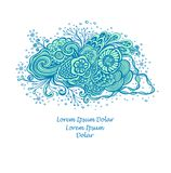 Template with Beautiful abstract marine flowers bouquet in blue cyan on white vector illustration