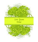 Template with Beautiful abstract marine flowers bouquet in green yellow on white Stock Photography