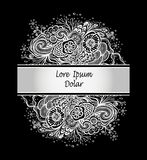 Template with Beautiful abstract marine flowers bouquet in silver on black Stock Photo
