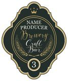 Beer label with ears of wheat and inscriptions. Template beer label with wheat ears, crown and handwritten inscriptions in figured frame. Vector label for craft Royalty Free Stock Image