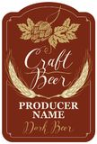 Beer label with wheat ears, hops and inscriptions. Template beer label with wheat ears, hops and handwritten inscriptions in figured frame. Vector label for dark Royalty Free Stock Images
