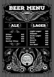 Template for the beer menu on black background with motorcycles and wings Royalty Free Stock Photos