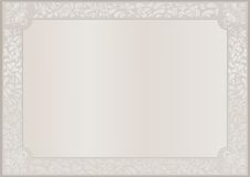 Template. Beige certificate. Certificate template. Border, frame. Lace border. Paisley border Stock Image