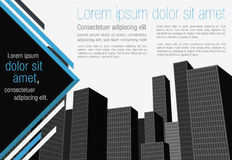 Template with big city. Template for advertising brochure with big city Stock Photography