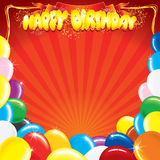 Template for Birthday. Multicolor Balloons with the words Happy Birthday, template for your own card design Stock Image