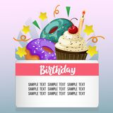 Birthday card with cute snacks. Template birthday card with cute snacks Stock Image