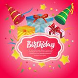 Birthday card with neon pink background and gift box. Template of birthday card with neon pink background and gift box Stock Photography