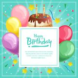 Birthday card template with colorful topping tart. Template of birthday card template with colorful topping tart Stock Photography