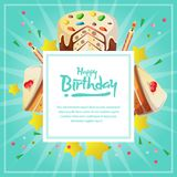 Birthday card template with cute tart. Template of birthday card template with cute tart Royalty Free Stock Images