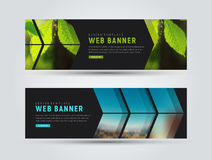 Template of black horizontal web banners with arrows stock illustration