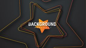 Template of a black vector background with an orange star. Design with lines and shadows Royalty Free Stock Photo