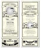 Template black and white flyer invitation for Halloween night pa vector illustration