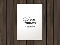 Template of blank paper sheet on a wooden Royalty Free Stock Photos