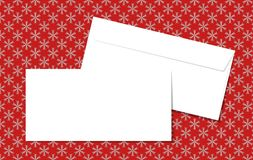 Template blank vector envelopes on Christmas background with snowflakes. Blank white envelopes on a red background. Royalty Free Stock Photos