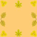 Template, blanks for greetings and recordings. Surrounded by yellow leaves of chestnut, birch and oak Royalty Free Stock Photos