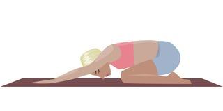 Template with blonde girl doing yoga exercises, good for yoga studio, yoga class, yoga center. Stock Image
